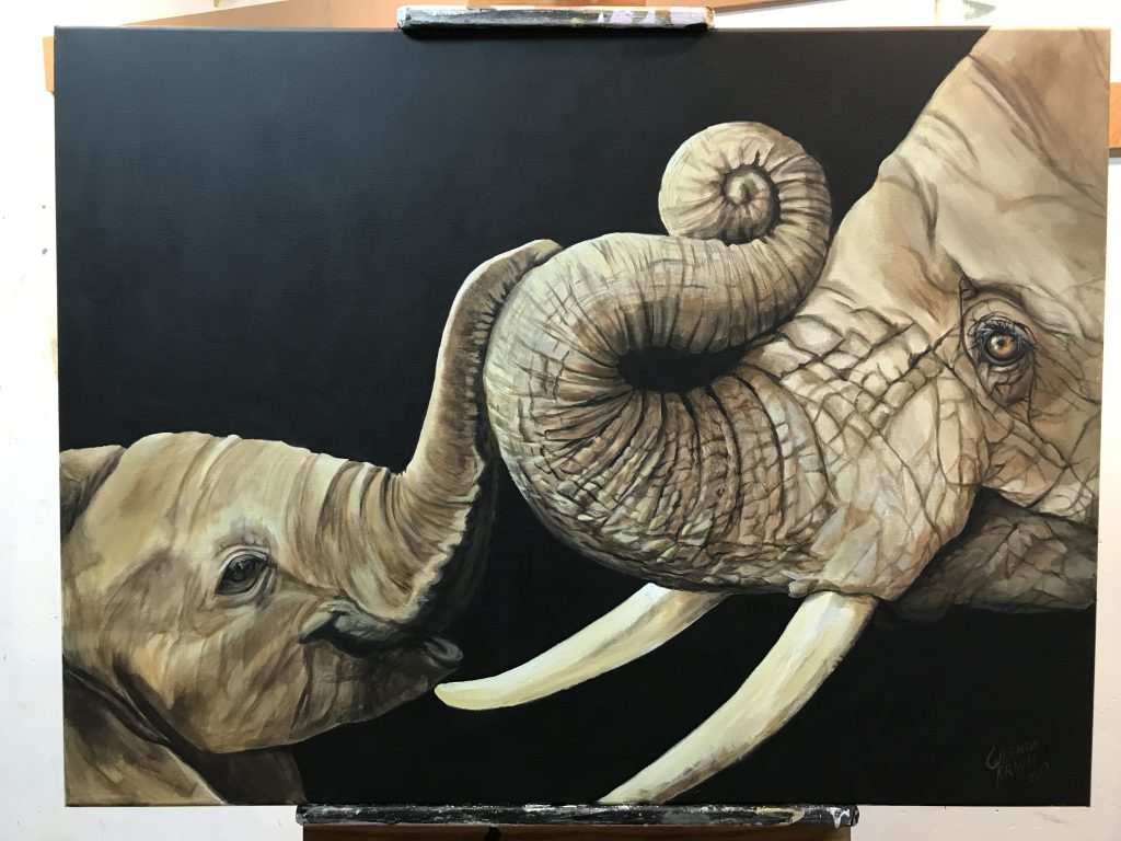 Baby Elephant and Mother Fine art